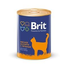 Консервы для кошек, Brit Premium, мясное ассорти с печенью