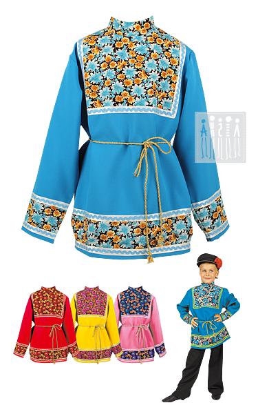 Русская рубаха для мальчика Коляда в четырех цветах на выбор: красная, желтая, голубая и розовая.