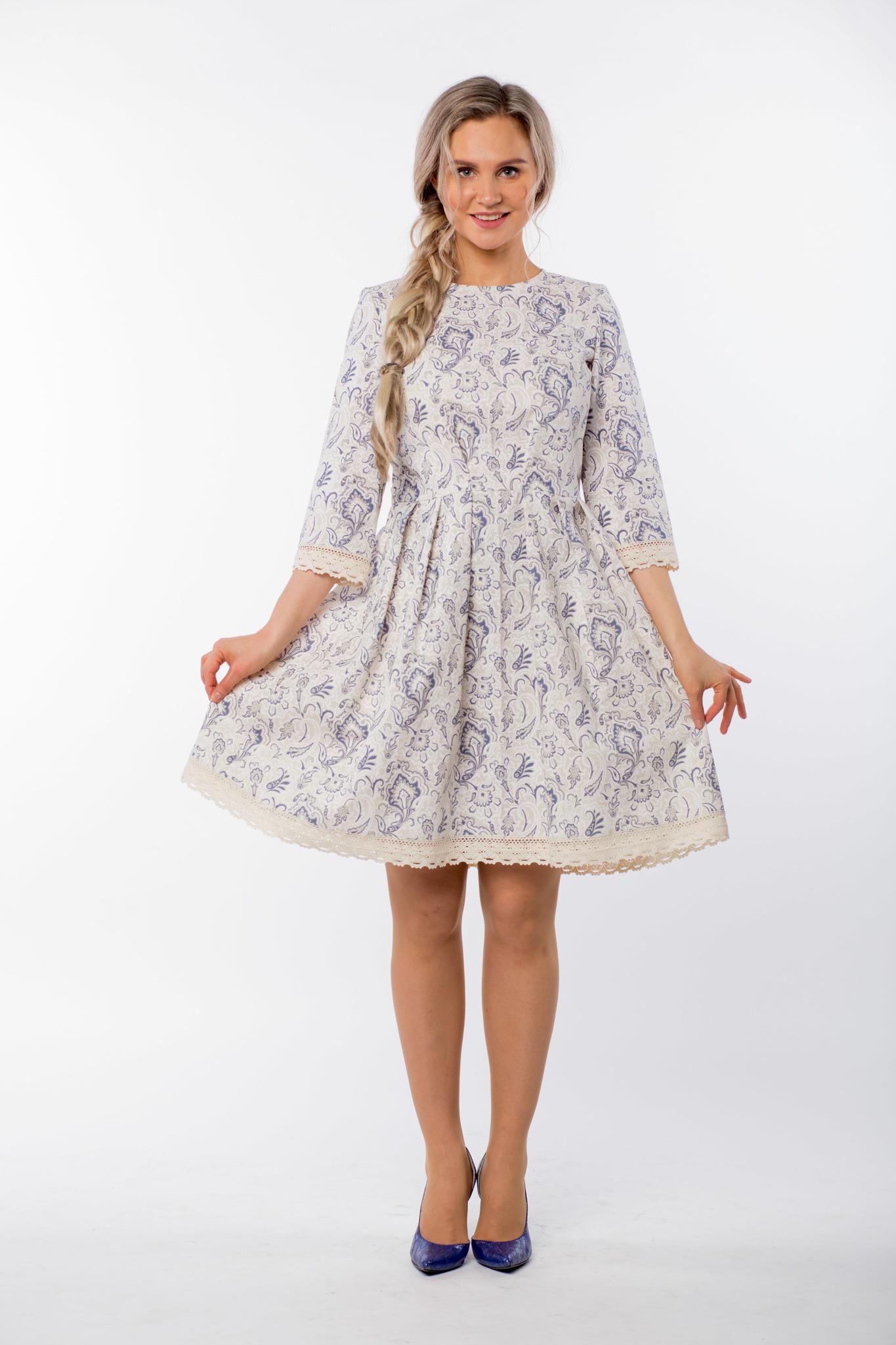 Платье льняное Первоцвет полный рост