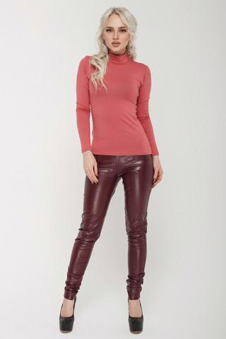 Кожаные леггинсы цвета бордо