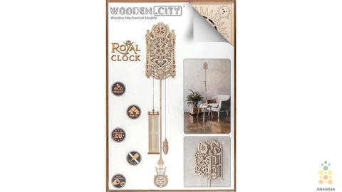 Сборная модель - Королевские часы «Royal Clock» от Wooden City. деревянный 3D пазл