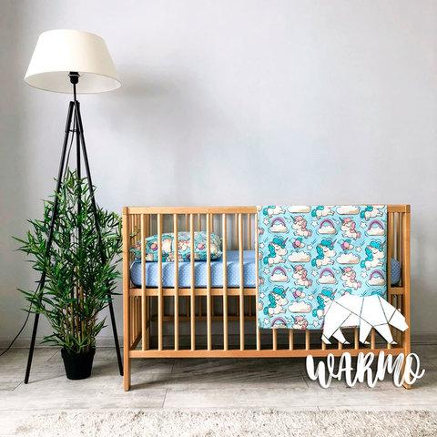Постіль дитяча з голубими єдинорогами фото