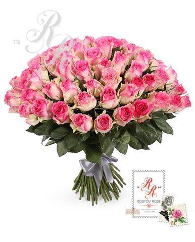 Букет 21 местная бело-розовая роза