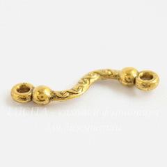 Коннектор изогнутый (1-1) 23х6 мм (цвет - античное золото), 5 штук