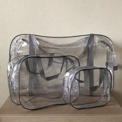 Прозрачная сумка в роддом с 2 косметичками, серая, вид 3