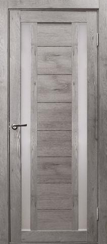Дверь Эколайт Дорс Тандем, стекло белое матовое, цвет дуб дымчатый, остекленная