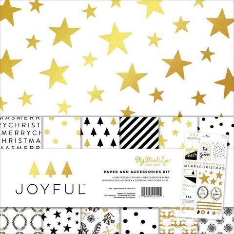 Набор фольгированной двусторонней бумаги 30х30 см   со стикерами Joyful Gold-My Mind's Eye.