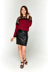 Бордовая блузка-сеточка Lolly с прозрачными плечами.