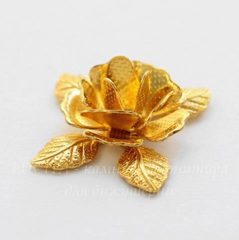 "Бусина металлическая ""Цветок"" 21х18 мм (цвет - золото)"