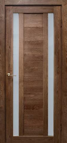 Дверь Эколайт Дорс Тандем, стекло белое матовое, цвет дуб шоколадный, остекленная