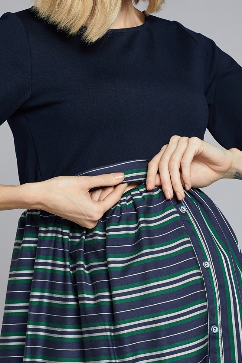Платье для беременных и кормящих 10773 полоска/зеленый