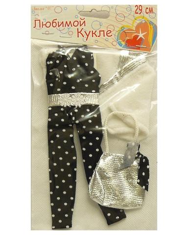 Комплект с накидкой - Черный. Одежда для кукол, пупсов и мягких игрушек.