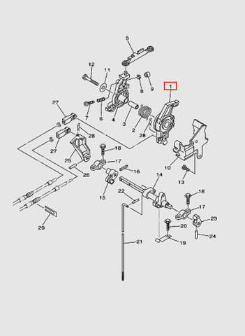 Рычаг газа для лодочного мотора T40 Sea-PRO (16-1)