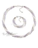 Комплект из бисера серебристо-серый 24 нити