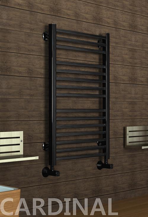 Cardinal E - электрический дизайн полотенцесушитель с квадратными вертикалями черного цвета.