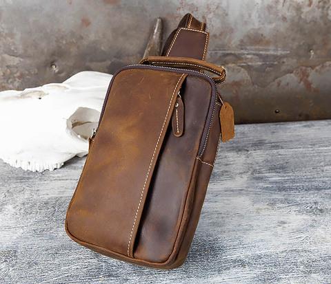 Рюкзак с одной лямкой из натуральной кожи