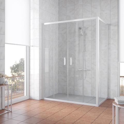 Душевой уголок Vegas Glass Z2P+ZPV профиль белый, стекло прозрачное