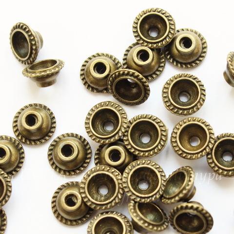 Шапочка для бусины 10х5 мм (цвет - античная бронза), 10 штук