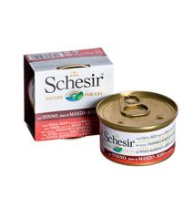 Schesir влажный корм для кошек с тунцом и говядиной с рисом в собственном соку банка 85 г