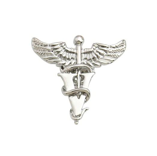 Брошь Кадуцей для ветеринаров (серебряный цвет)
