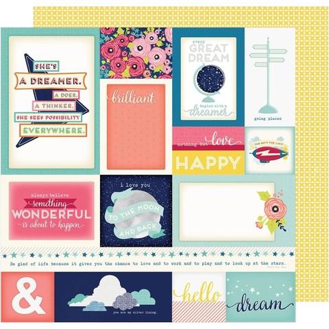 Лист двусторонней  бумаги с журнальными карточками  30х30см Shimelle Starshine by American Crafts