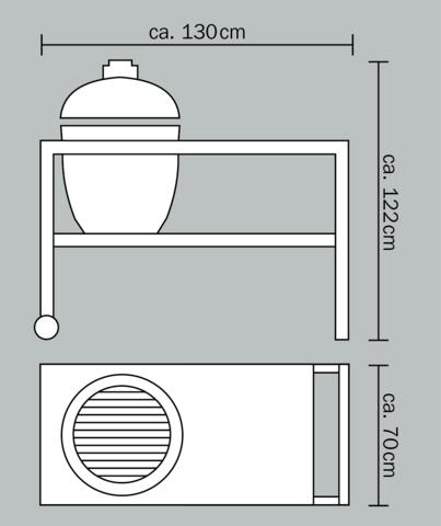 Керамический гриль Monolith Grill Classic L со столом  (черный)