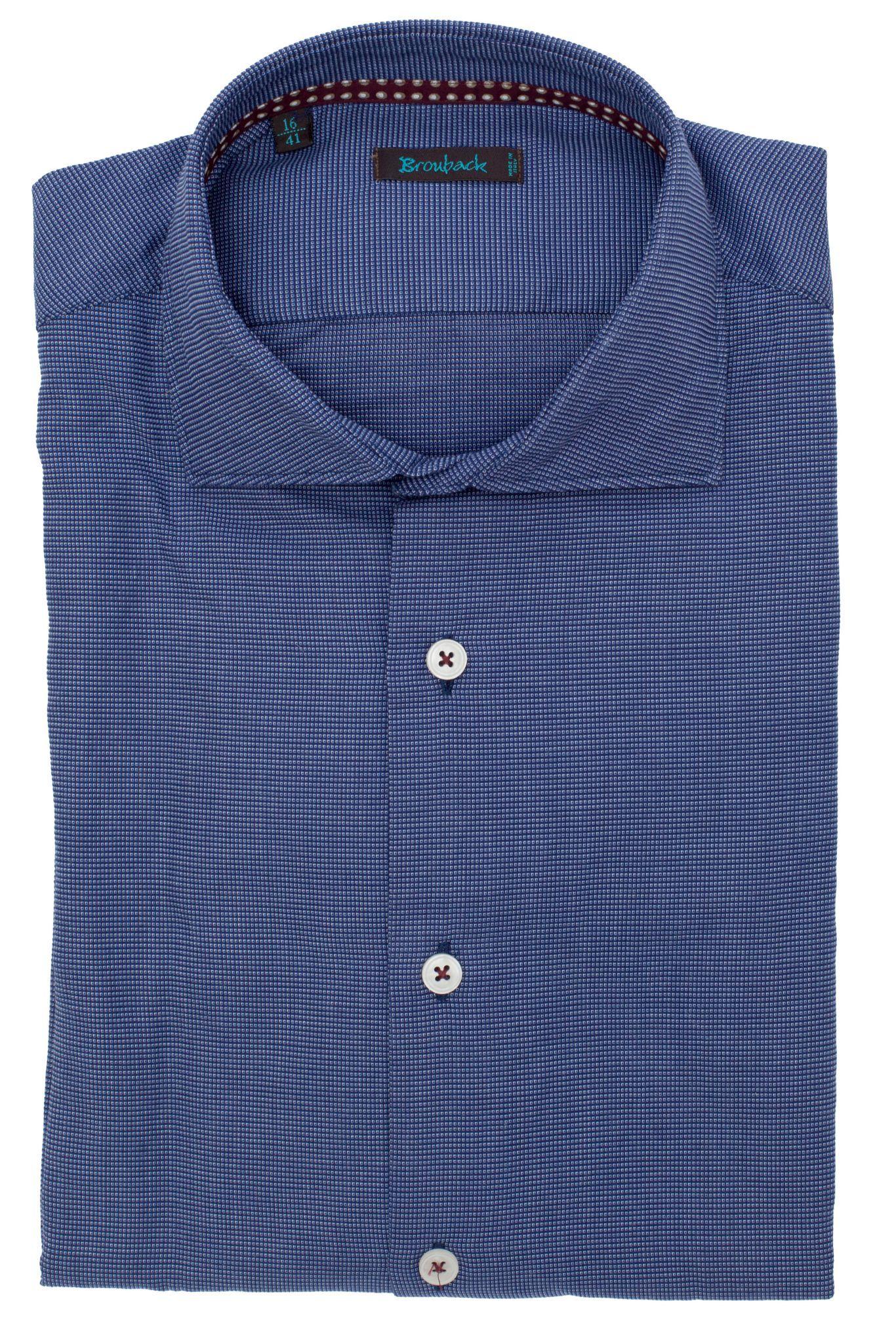 Синяя рубашка в частейшую белую крапинку