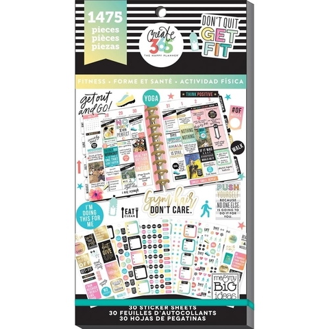 Блокнот со стикерами для ежедневника Create 365 Happy Planner Sticker Value Pack- Work It Out.  1475 шт
