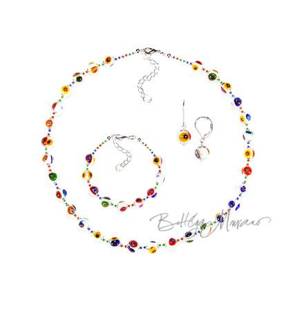 Комплект Муррина белого цвета (серьги, бусы, браслет)
