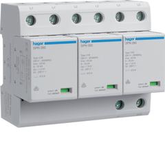 Комбинированный разрядник защиты от перенапряжения, 3пол., 6M, класс 1+2 или B, 75kA TNC, с индикацией, сменными картриджами