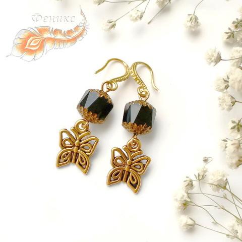 """Подвеска """"Бабочка"""" 15х13 мм (цвет - античное золото) (Серьги с бабочками. Пример)"""