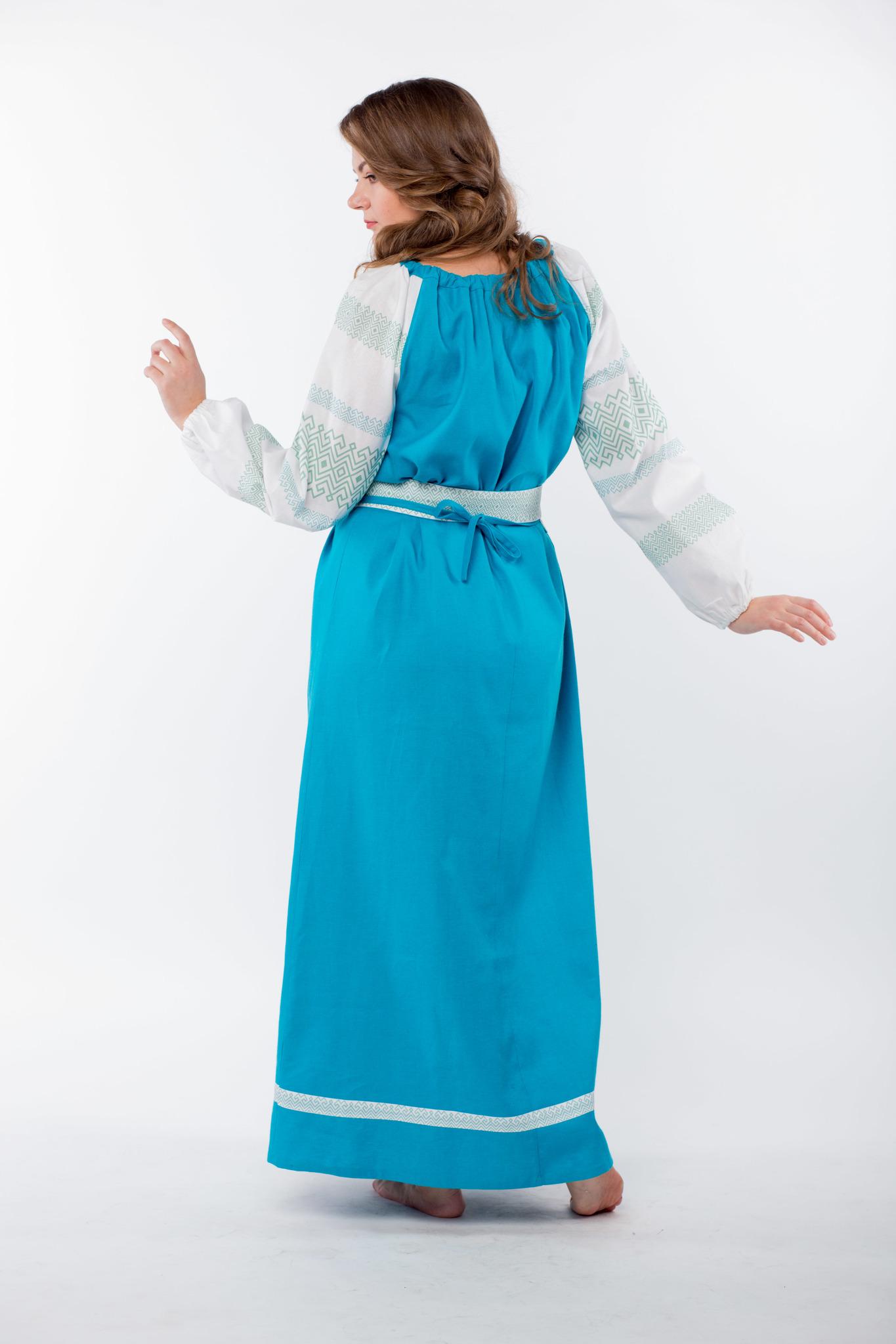 Платье льняное Заморское бирюзовое вид сзади