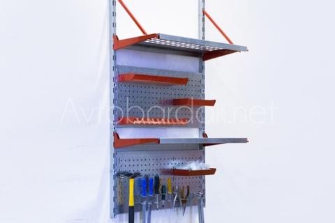 Настенный металлический стеллаж для инструмента (620х1200 мм)