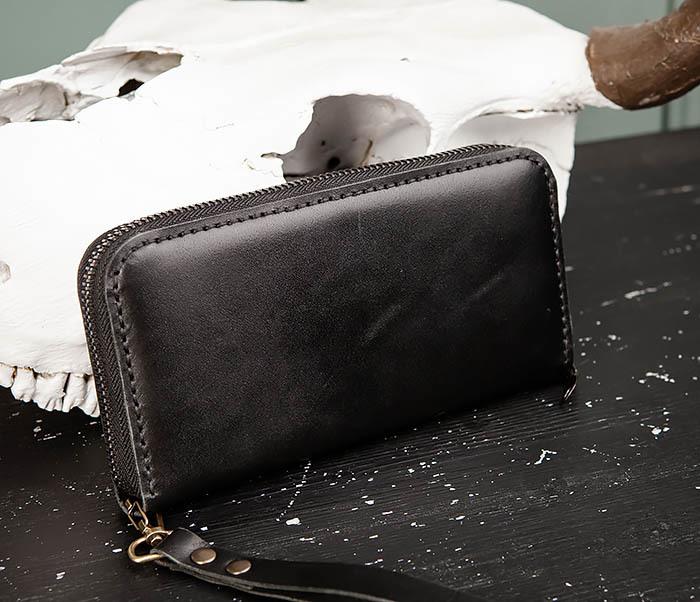 WB186-1 Черный мужской клатч ручной работы фото 04