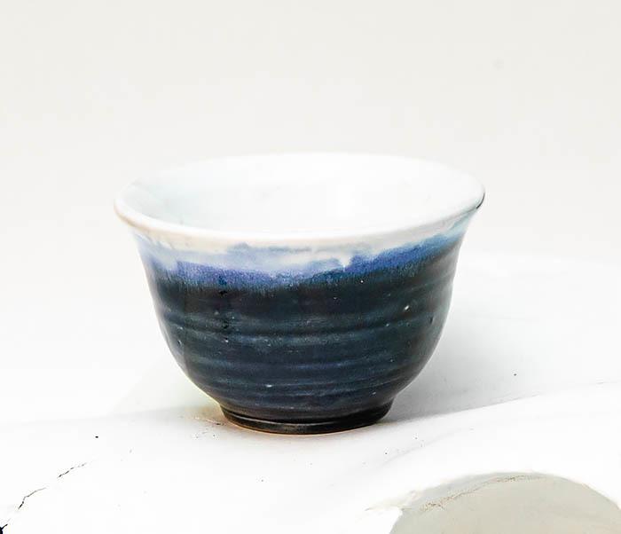CUP114 Пиала ручной работы с глазурью синего цвета фото 04