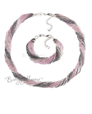Комплект из бисера серо-розовый 24 нити