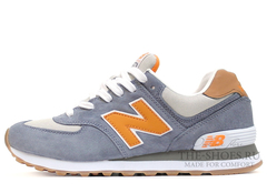 Кроссовки Мужские New Balance 574 Premium Grey Orange White