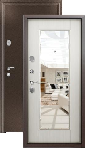 Дверь входная Стел  05/зеркало, 2 замка, 1,5 мм  металл, (медь+белый перламутр)