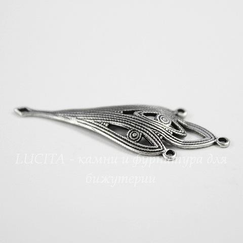 Винтажный декоративный элемент - коннектор (1-3) 36х14 мм (оксид серебра)