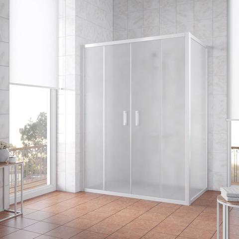 Душевой уголок Vegas Glass Z2P+ZPV профиль белый, стекло сатин