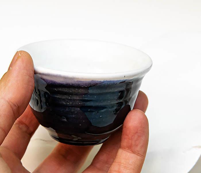 CUP114 Пиала ручной работы с глазурью синего цвета фото 06