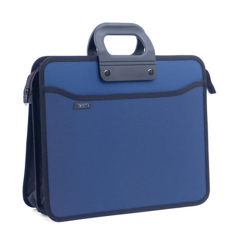 Папка портфель пласт на 4 отд А4+ 390*320, усилен. ручка, т. син.