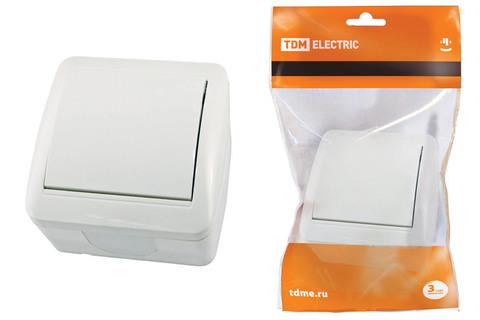 Выключатель 1-кл. открытой установки IP44 10А белый