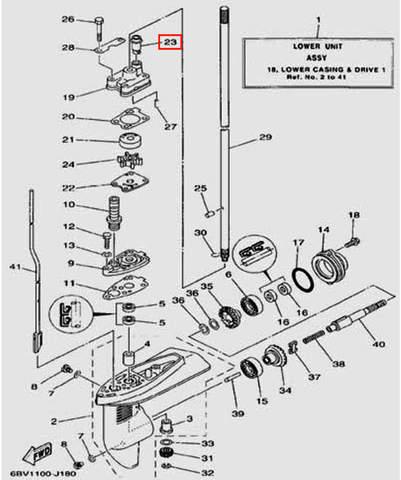 Уплотнитель водяной трубки для лодочного мотора F5 Sea-PRO(18-23)