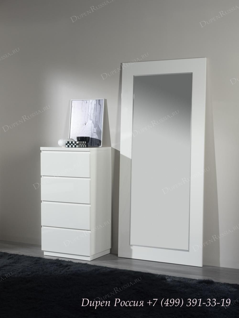 Комод вертикальный DUPEN S-111 Белый, Зеркало DUPEN E-77 белое