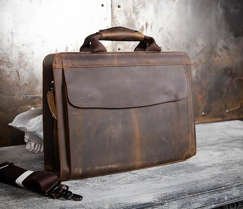 BAG458-2 Мужской портфель из толстой кожи (под А4)