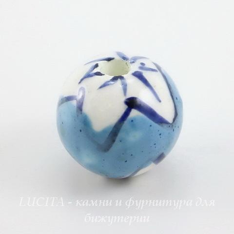 """Бусина фарфоровая шарик """"Белые цветы на голубом фоне"""", 12 мм"""