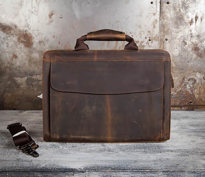 BAG458-2 Мужской портфель из толстой кожи (под А4) фото 02