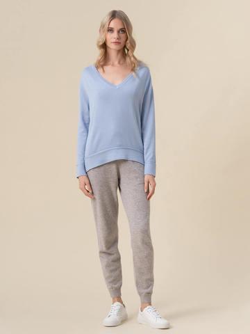 Женский джемпер голубого цвета из 100% кашемира - фото 3