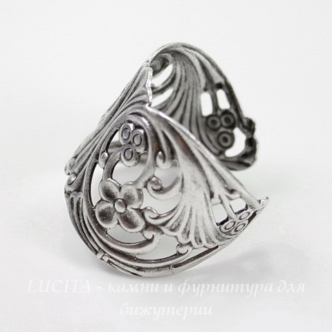 Винтажная основа для кольца (филигрань с цветочками) (оксид серебра) ()